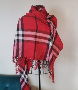Pashmina and silk blend red plaid scarf